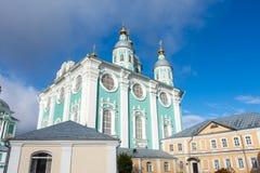 Helig Dormition domkyrka i Smolensk, Ryssland 1507 1533 antagande byggde domkyrkaår Epiphanydomkyrka fotografering för bildbyråer