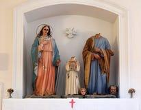 Helig familj, kyrka av St Nicholas i Cilipi, Kroatien Arkivfoto