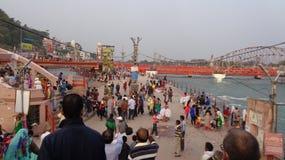 Helig Ganga flod Ghat Arkivbilder