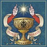 Helig gral Medeltida gotisk stilbegreppskonst stock illustrationer