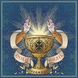 Helig gral Medeltida gotisk stilbegreppskonst royaltyfri illustrationer