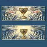 Helig gral Medeltida gotisk stilbegreppskonst Horisontalaffischuppsättning stock illustrationer