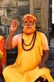 Helig hinduisk sadhuman i Pashupatinath, Nepal Arkivbilder