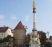 Helig jungfruliga Mary kolonn i Zagreb Fotografering för Bildbyråer