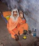 Helig man i Varanasi Arkivfoto