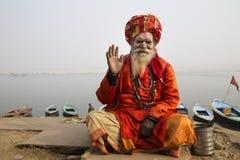 Helig man Varanasi Arkivbild
