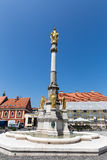 Helig Mary kolonn framme av den Zagreb domkyrkan, Kroatien arkivfoton