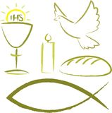 Helig nattvardsgång - religiösa symboler stock illustrationer