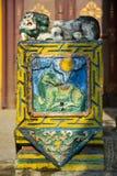 Helig pelare i den Gandan kloster, Ulaanbaatar Fotografering för Bildbyråer