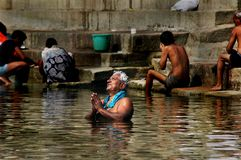 Helig stad Benaras i Indien Royaltyfria Bilder