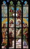helig trinity Art Nouveau målat glassfönster royaltyfri fotografi