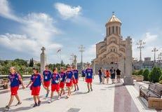 Helig Trinitydomkyrka av Tbilisi arkivfoton
