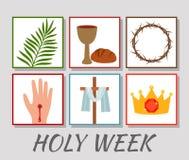 Helig vecka för kristet baner med en samling av symboler om det Jesus Christ The begreppet av påsken och palmsöndagen plant royaltyfri illustrationer