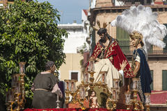Helig vecka i Seville, brödraskap av San Esteban Arkivbilder