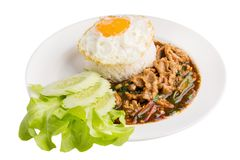Heliga Basil Fried Rice med griskött och den Fried Egg Sunny sidan upp isolator Arkivfoto