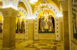 Heliga frescoes i St sparar tempelkryptan i Belgrade arkivbilder
