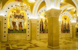 Heliga frescoes i St sparar tempelkryptan i Belgrade royaltyfri foto