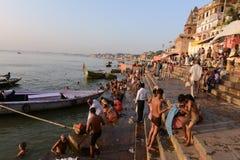 Heliga Ghats av Benaras royaltyfri fotografi
