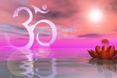 Heliga Lotus On The Water Royaltyfri Fotografi