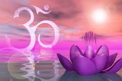 Heliga Lotus On The Water Royaltyfri Bild