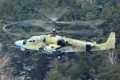 Helikopter för Kamov Ka-52 alligatorattack som föreställas i Lyubertsy Royaltyfri Bild