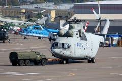 Helikopter för Mil som Mi-26 föreställas i Lyubertsy Fotografering för Bildbyråer
