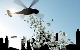 Helikopter in hemel het dalen geld over stad royalty-vrije stock afbeelding