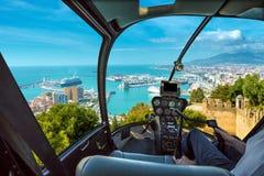 Helikopter i port av Malaga Royaltyfri Bild