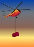 Helikopter met doos Royalty-vrije Stock Afbeeldingen