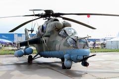 Helikopter Mi-35 på den internationella flyg- och utrymmesalongen Royaltyfri Fotografi