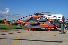 Helikopter Mi-171Sh på det internationella flyget och utrymmet Salo Royaltyfri Foto