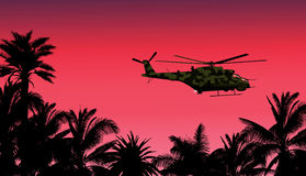 Helikopter mot solnedgången vektor illustrationer
