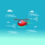 Helikopter som flyger upp i molnvektorn Royaltyfria Foton