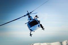 Helikopter tijdens de vlucht Stock Foto's
