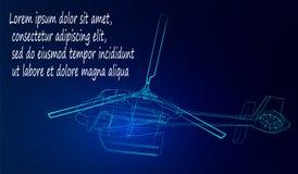 Helikopter van neonlijnen op een blauwe achtergrond Vector illustratie vector illustratie