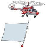 Helikopter z sztandarem. Obrazy Royalty Free