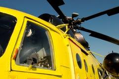 Helikoptercockpit och rotor Arkivfoton
