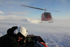 Helikopterlandning i Antarktis Royaltyfri Foto