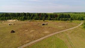 Helikoptern ankom på grönt fält Helikopter som landas på gult gräs, molnig dag Flyga surr- och gräsplanvetefältet stock video