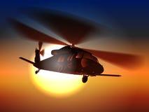Helikoptern för höken för konturhelikoptersvart flyger i solnedgånghimmel stock illustrationer