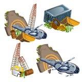 Helikopterneerstorting en schipbreuk van materiaal Royalty-vrije Stock Afbeeldingen
