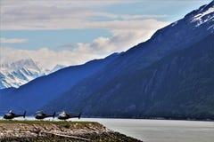 Helikopters in Skagway, Alaska royalty-vrije stock afbeeldingen