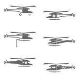 Helikoptersymbolsuppsättning Arkivbild