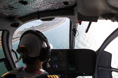 Helikopteru pilotowy kabinowy widok Zdjęcie Stock