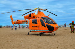 Helimedix Air Ambulance helicopter. Skegness-England 09 August 2015, Air Ambulance helicopter during medical emergencies rescue on the beach in Skegness royalty free stock image