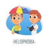 Heliophobia läkarundersökningbegrepp också vektor för coreldrawillustration Arkivfoton