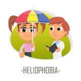 Heliophobia läkarundersökningbegrepp också vektor för coreldrawillustration Arkivbilder