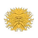 Helios Greek God di colore di disegno della testa di Sun royalty illustrazione gratis