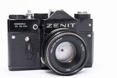 Old Soviet Zenit TTL 35 mm film camera isolated on white. With helios 44-2 lens Stock Images