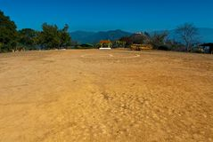Helipad area for parking on mountain Stock Photo